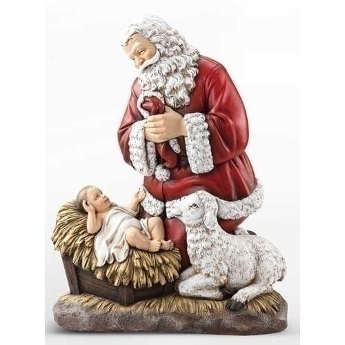 33003 Kneeling Santa with Jesus and Lamb